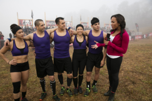 "SPARTAN: ULTIMATE TEAM CHALLENGE -- Episode 101 -- Pictured: (l-r) Jolene Dunlap, Jess Movold, Steve Porras of ""Gotham City Warriors; MJ Acosta; Kyle Anderson, Chelsea Aronica of ""Gotham City Warriors""; Matt Mezzetti, Rose Wetzel of ""Boston Beats""; Evan Dollard; Mike Bakeman, Alix Bakeman, Bianca Vasquez of ""Boston Beats"" -- (Photo by: Mark Hill/NBC/NBCU Photo Bank)"