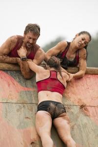 "SPARTAN: ULTIMATE TEAM CHALLENGE -- Episode 101 -- Pictured: (l-r) Adam Von Ins, Orla Walsh, Elea Faucheron of ""Charleston Warriors"" on the Slip Wall -- (Photo by: Mark Hill/NBC)"