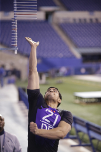 at the NFL Combine in Indianapolis, Wednesday, Feb. 18, 2015. (AJ Mast /AP Images for Under Armour)