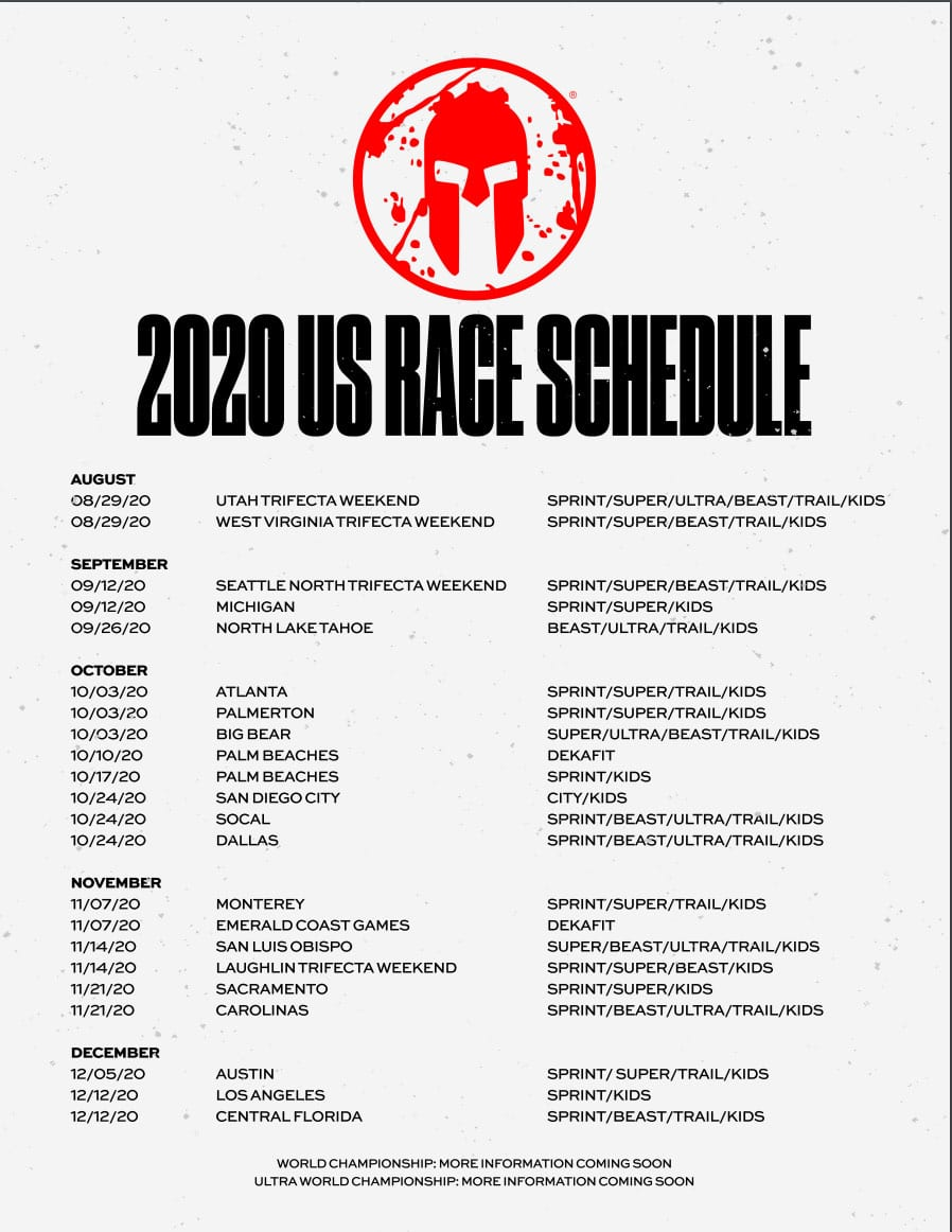 Spartan Announces Remaining 2020 Us Race Schedule Mud Run Ocr Obstacle Course Race Ninja Warrior Guide